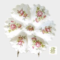 LIMOGES Deep Well OYSTER Plate Dresden Style Flower Bouquets c.1900