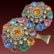 ART DECO Jewel-tone Rhinestone Earrings Pat. 1967965 c.1934