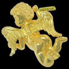 Vintage Castlecliff's Flying Cherub Brooch, Dubbed a 'Pinch Pin' c.1966