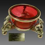 Simpson Hall Miller's Egyptian Hunting Dogs Master Salt w/ Cranberry Glass, c.1870's