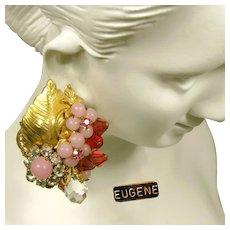 Vintage EUGENE Pink Art Glass Earrings w/ Rose Montee c.1950's