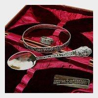 ~Gorham Sterling Cased Set ~ Chicago WORLD's FAIR ~ Ring, Bracelet, Spoon c.1892~