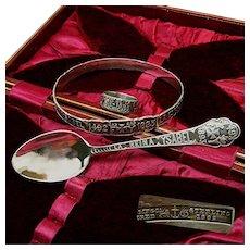 Gorham Sterling Cased Set ~Chicago WORLD's FAIR ~Ring, Bracelet & Spoon c.1892