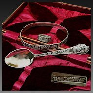 Chicago WORLD's FAIR c.1892 Ring, Bracelet, Spoon Cased Set Gorham Sterling