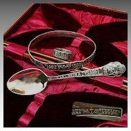 Chicago WORLD's FAIR c.1892 Ring, Bracelet, Spoon Cased Set Gorham Sterling