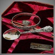 Gorham Sterling Chicago WORLD's FAIR Ring, Bracelet, Spoon-Cased Set c.1892