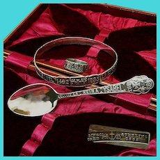 c.1892 Chicago WORLD's FAIR ~Gorham Sterling Cased ~Ring, Bracelet & Spoon