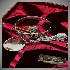 Gorham Sterling Chicago WORLD's FAIR Ring, Bracelet, Spoon-Cased Set c.1892
