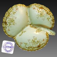 Art Nouveau LIMOGES Gilded Ornate Handpainted Divided SERVER c.1900