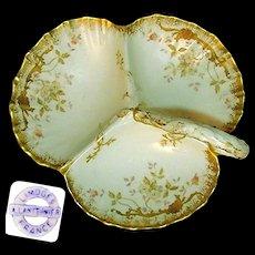 Art Nouveau LIMOGES Gilded Ornate Handpainted Divided SERVER c.1900