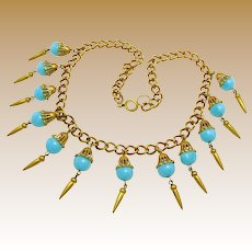MIRIAM HASKELL CLASSIC Brass Bullet Drops & Chain Necklace w/ Art Glass c.1930's