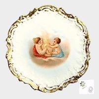 Art Nouveau CHERUB LIMOGES Cabinet Plate-Gilded Coiffe Mold c.1900