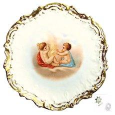 Art Nouveau LIMOGES CHERUB Cabinet Gilded Plate-Coiffe Mold c.1900