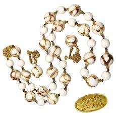 Vintage MIRIAM HASKELL Art Glass Necklace w/ Drop Earrings