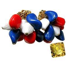 MIRIAM HASKELL Earrings Vintage, PATRIOTIC Red, White 'n Blue Art Glass