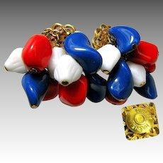 Vintage MIRIAM HASKELL Earrings PATRIOTIC Red, White 'n Blue Art Glass