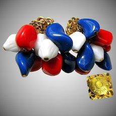 Vintage MIRIAM HASKELL Patriotic Earrings, RWB Art Glass Drops