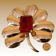 CORO Mexico SILVER Flower Brooch, Stepped Red Glass Stone AGUILAR Design 1940's