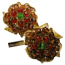 AMOURELLE (Hess) Vintage Earrings, Amber 'n Cranberry Glass