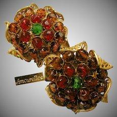 Vintage Amourelle-Hess Gilt Flower Earrings Cranberry 'n Amber Center