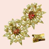 ~Victorian Revival Earrings ~ Paste Stones ~ Pat.1967965 c.1930's~