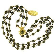 ~c.1950's De MARIO 3-Strand Necklace ~ Vintage Black Glass ~ Free Earrings~
