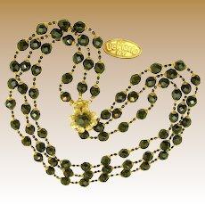 Robert DE MARIO Vintage 3-Strand Necklace w/ Earrings, Black Glass c.1950's