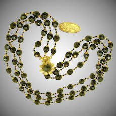 Vintage DE MARIO 3-Strand DRAPING Black Glass Necklace w/ Earrings c.1950's
