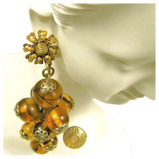 MIRIAM HASKELL Vintage Earrings, Swirling Hand Blown Glass
