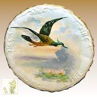 Art Nouveau Limoges Game Bird Plate Artist Signed René c.1896