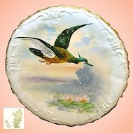 Limoges Game Bird Plate c.1896, Art Nouveau, Artist Signed René