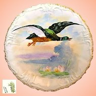 Art Nouveau Limoges Game Bird Plate Artist Signed René c.1896