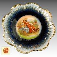 Art Nouveau CHERUB w/ Hunters Gilded COBALT Border Cabinet Plate