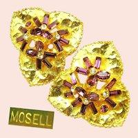 ~MOSELL Floral Earrings~  ~Amethyst Rhinestones~ Circa 1950's~