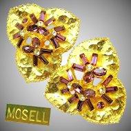 Vintage Floral MOSELL Earrings w/ Amethyst Rhinestones c.1950's