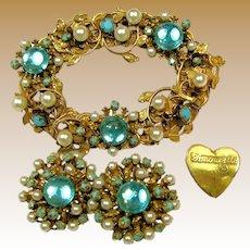 Amourelle (Hess) Vintage Set, Floral Gilt 'n Glass