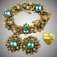 Vintage Amourelle (Hess) Gilt Floral Glass Set