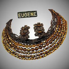 EUGENE Vintage Necklace 'n Earrings, All Glass
