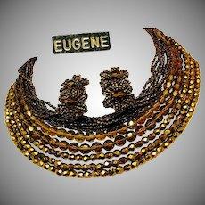 Vintage All Glass EUGENE Bib Necklace 'n Earrings