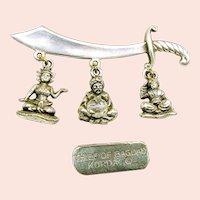 KORDA THIEF of BAGDAD Scimitar Brooch Vintage w/ Dangling Charms