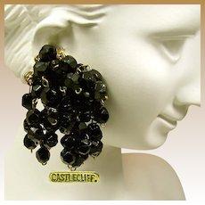 CASTLECLIFF Sterling Vintage Earrings, Multiple Black Glass Pendants c.1945