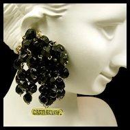 Vintage CASTLECLIFF Sterling Earrings, Black Glass Multiple Pendants c.1945