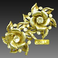 Vintage Hess-Appel's Jollé Gold Over Sterling ROSE Blossom Earrings c.1940's