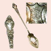 UNGER'S DOUVAINE Long Pierced Bowl Sterling Olive Spoon c.1890 NO MONO