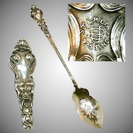 Art Nouveau UNGER Sterling DOUVAINE Olive Spoon, Pierced Bowl c.1890 No Mono