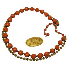 MIRIAM HASKELL Vintage Necklace of Glass Coral 'n Fancy Russian Gilt Chain