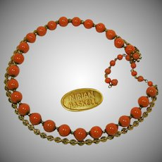 MIRIAM HASKELL Vintage Necklace, Glass Coral 'n Fancy Russian Gilt Chain