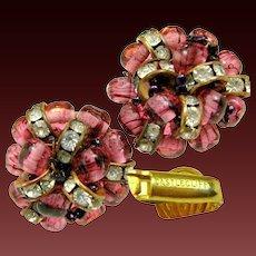 Vintage CASTLECLIFF Earrings Purple Art Glass 'n Rhinestone Rhondel
