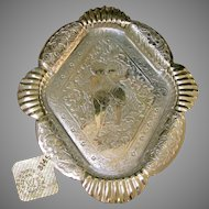 JAMES TUFTS Footed Silver Tray of Garden Cherubs c.1880's