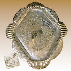 James Tufts Antique Footed Silver Tray w/ Fancy Cherub Design